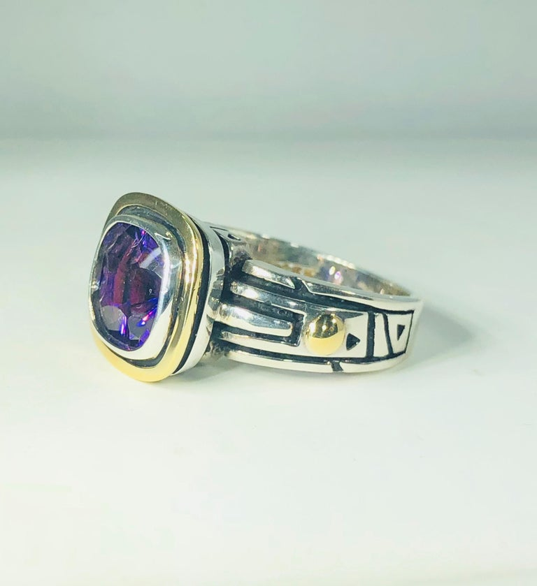 Women's or Men's John Atencio 18 Karat Sterling Amethyst Cocktail Ring For Sale