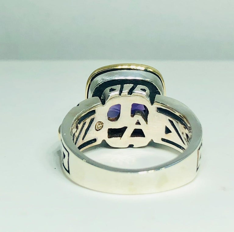 John Atencio 18 Karat Sterling Amethyst Cocktail Ring For Sale 1