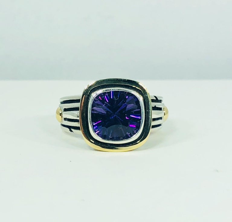 John Atencio 18 Karat Sterling Amethyst Cocktail Ring For Sale 3