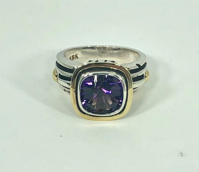 John Atencio 18 Karat Sterling Amethyst Cocktail Ring For Sale 4