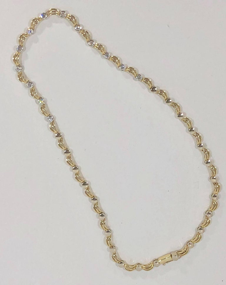 18 Karat Two-Tone Yellow/ White Gold and 1.0 Carat Diamond Fancy Link Necklace For Sale 5