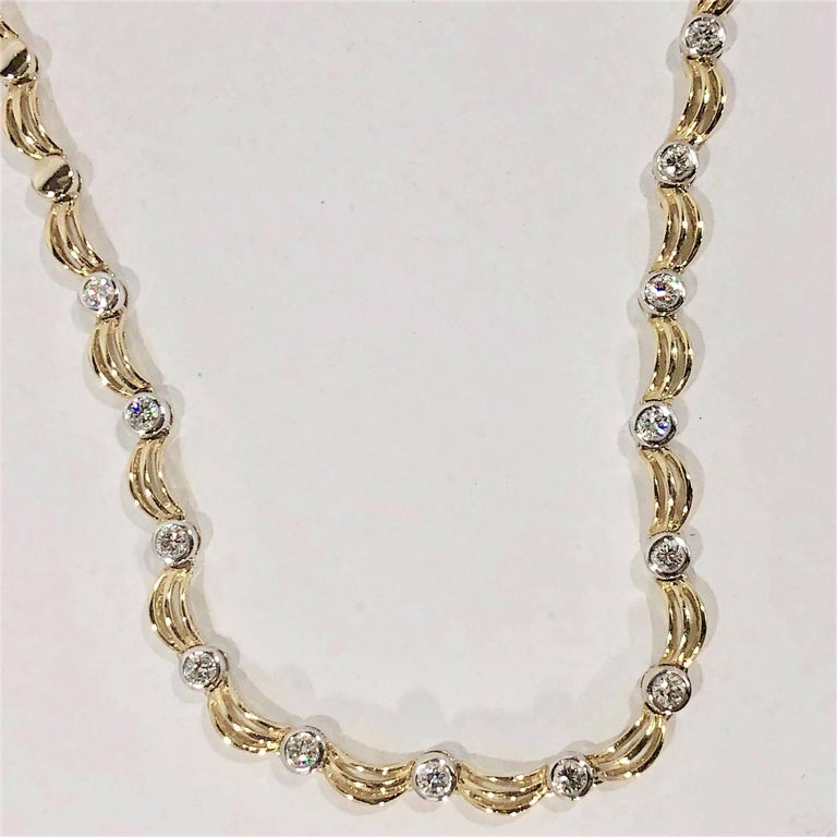 18 Karat Two-Tone Yellow/ White Gold and 1.0 Carat Diamond Fancy Link Necklace For Sale 4