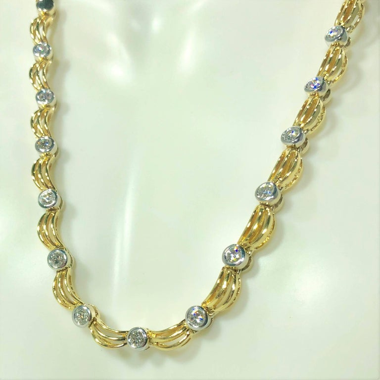 18 Karat Two-Tone Yellow/ White Gold and 1.0 Carat Diamond Fancy Link Necklace In New Condition For Sale In Mansfield, OH