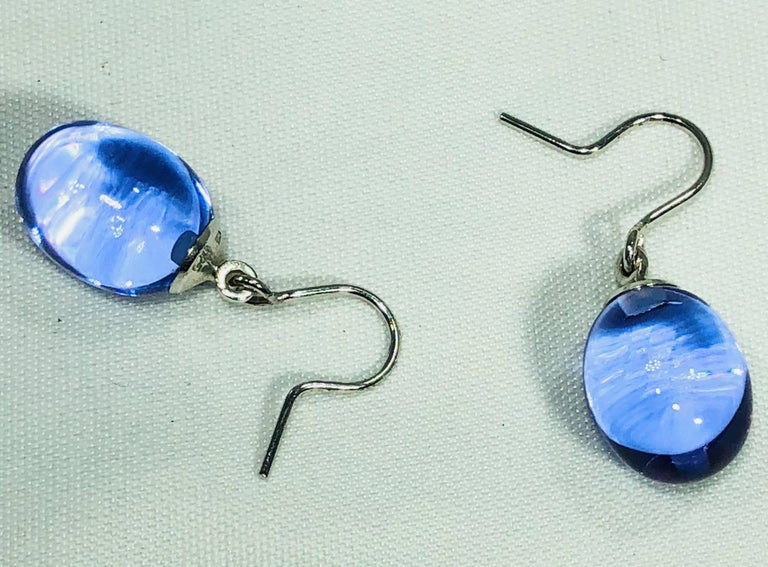 Baccarat Crystal and Sterling Silver Blue Irridescent Drop Earrings For Sale 3