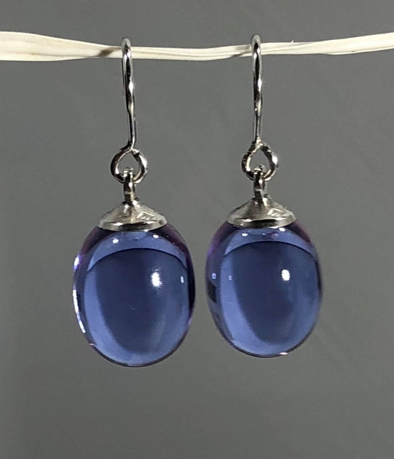 Modern Baccarat Crystal and Sterling Silver Blue Irridescent Drop Earrings For Sale