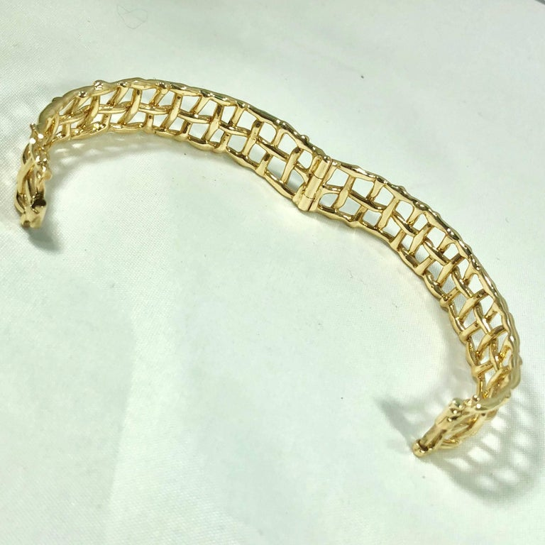Daunis 14 Karat Yellow Gold Hinged Cuff Bracelet For Sale 5