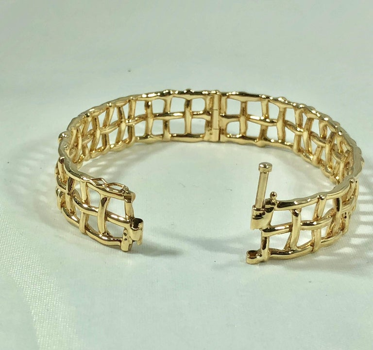 Daunis 14 Karat Yellow Gold Hinged Cuff Bracelet For Sale 4