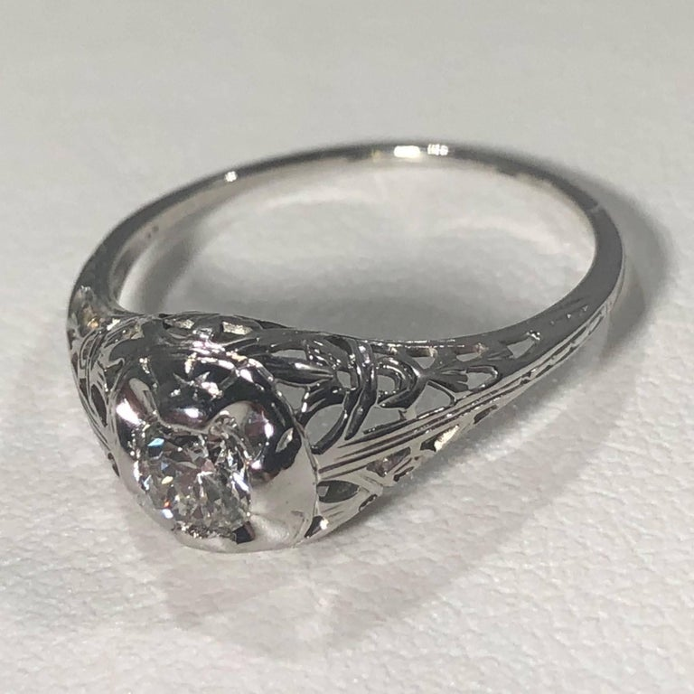 Women's Art Deco 18 Karat .29 Carat Old European Cut Diamond Solitaire Engagement Ring For Sale
