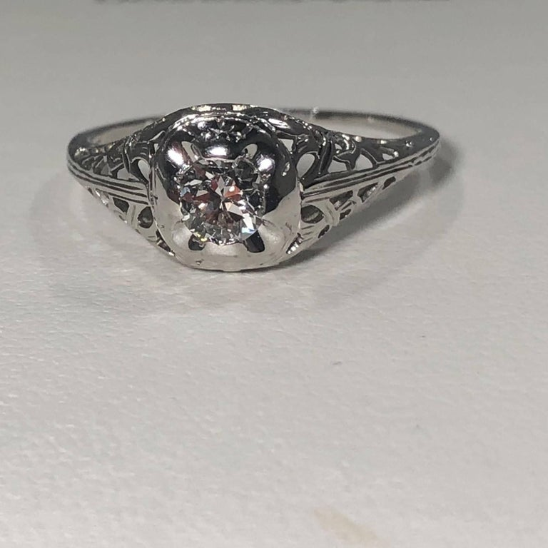 Art Deco 18 Karat .29 Carat Old European Cut Diamond Solitaire Engagement Ring For Sale 1