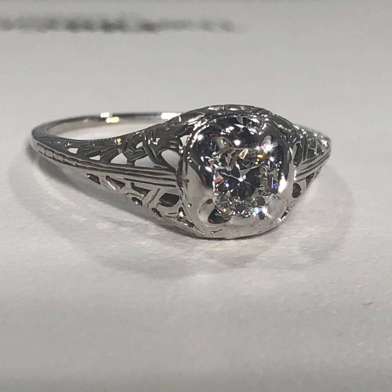 Art Deco 18 Karat .29 Carat Old European Cut Diamond Solitaire Engagement Ring For Sale 2