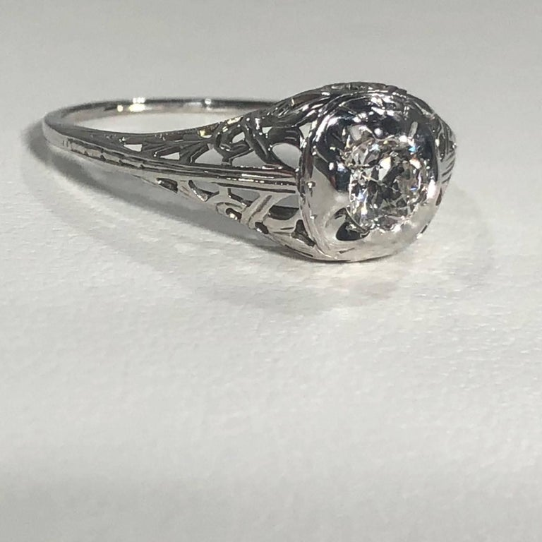 Art Deco 18 Karat .29 Carat Old European Cut Diamond Solitaire Engagement Ring For Sale 3