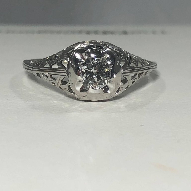 Art Deco 18 Karat .29 Carat Old European Cut Diamond Solitaire Engagement Ring For Sale 5