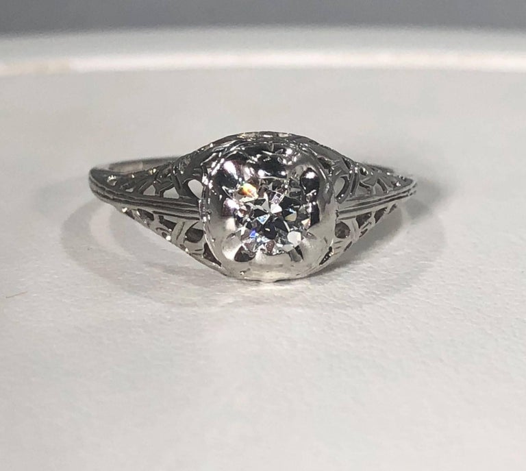 Art Deco 18 Karat .29 Carat Old European Cut Diamond Solitaire Engagement Ring For Sale 6
