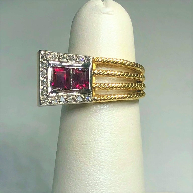 Contemporary Vintage J Rossi 18 Karat Two-Tone European Cut Ruby and Diamond Fashion Ring For Sale