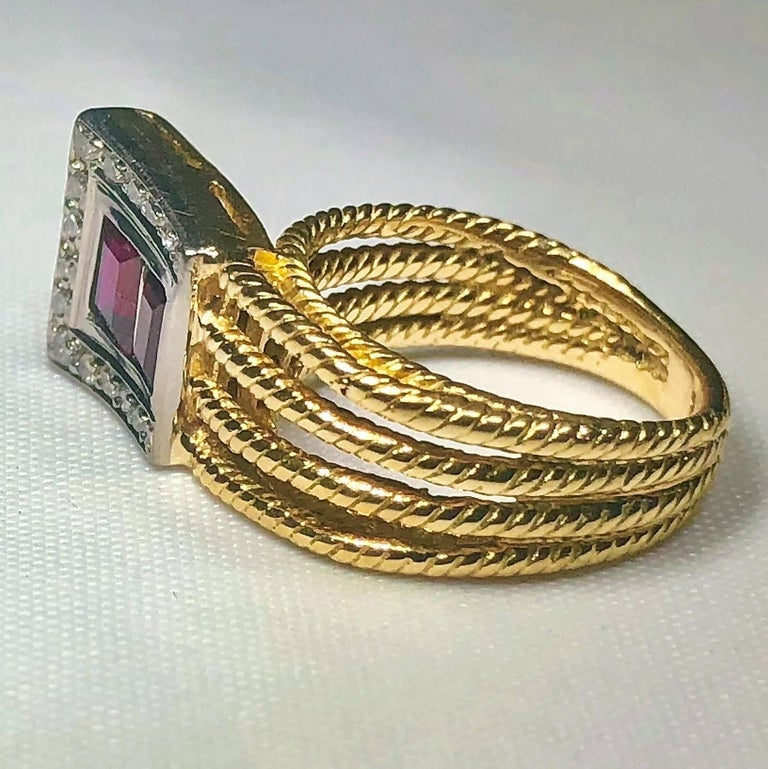 Vintage J Rossi 18 Karat Two-Tone European Cut Ruby and Diamond Fashion Ring For Sale 1