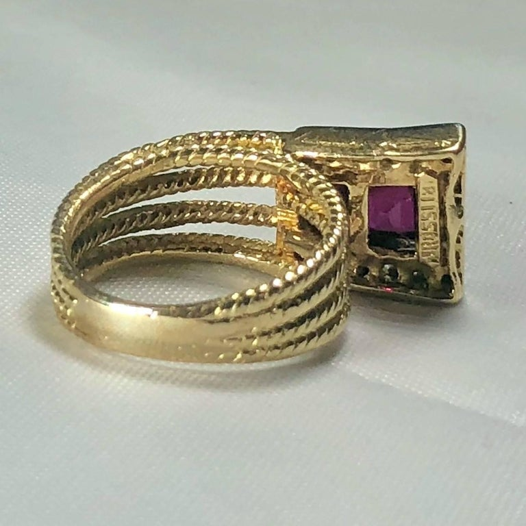 Vintage J Rossi 18 Karat Two-Tone European Cut Ruby and Diamond Fashion Ring For Sale 3