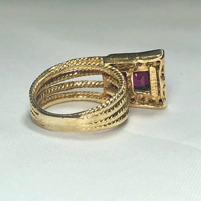Vintage J Rossi 18 Karat Two-Tone European Cut Ruby and Diamond Fashion Ring For Sale 2