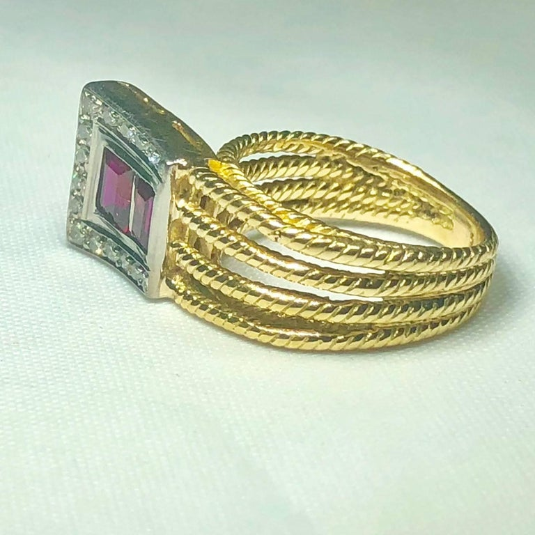 Vintage J Rossi 18 Karat Two-Tone European Cut Ruby and Diamond Fashion Ring For Sale 4