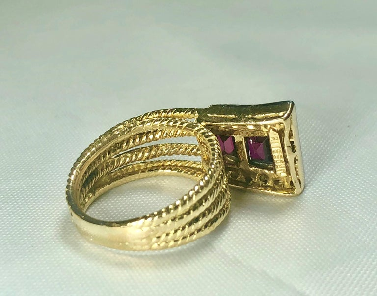 Vintage J Rossi 18 Karat Two-Tone European Cut Ruby and Diamond Fashion Ring For Sale 6