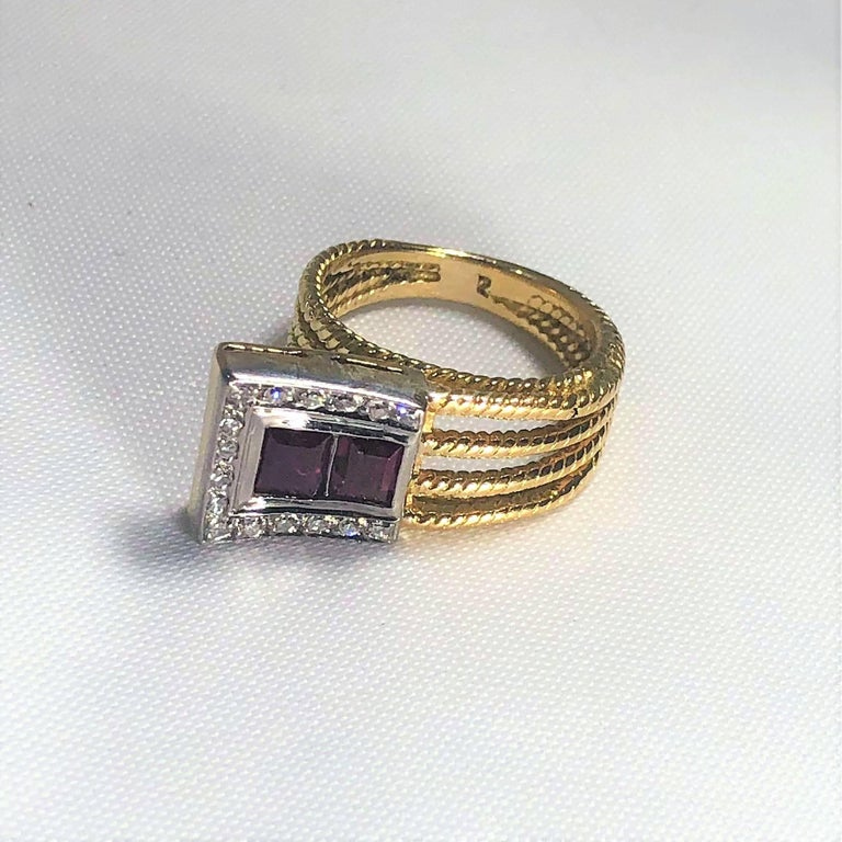Old European Cut Vintage J Rossi 18 Karat Two-Tone European Cut Ruby and Diamond Fashion Ring For Sale