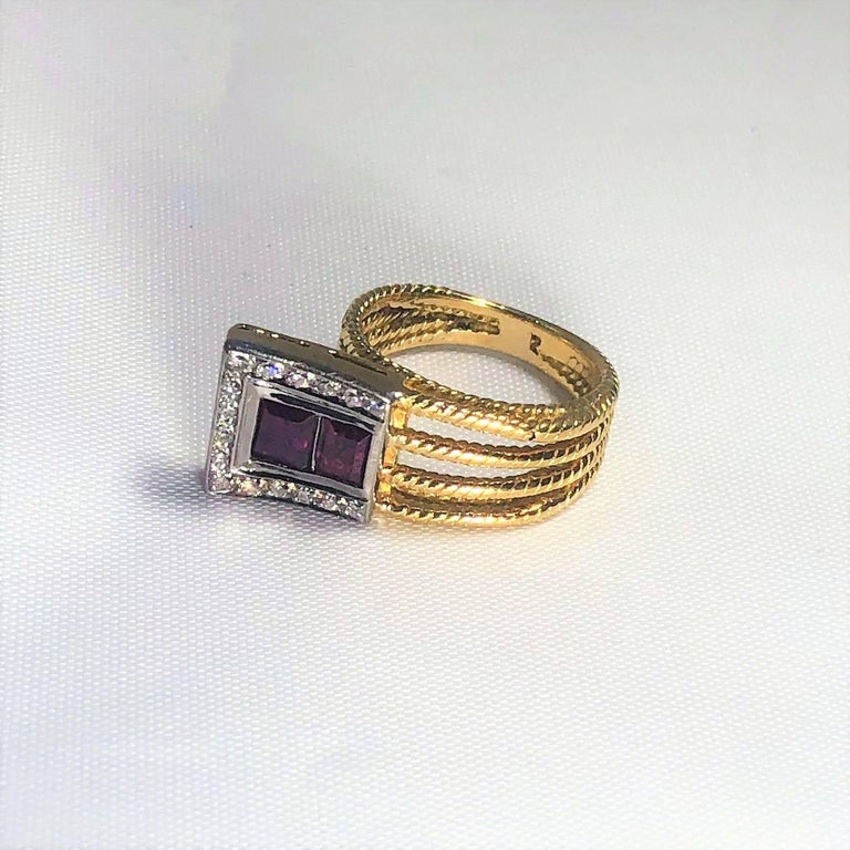 Vintage J Rossi 18 Karat Two-Tone European Cut Ruby and Diamond Fashion Ring In Excellent Condition For Sale In Mansfield, OH