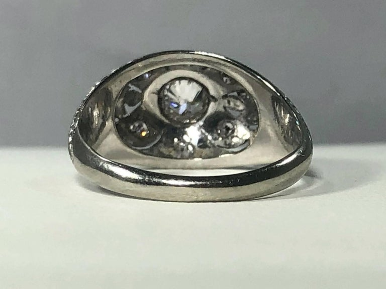 Art Deco Platinum and 18 Karat Gold European Cut Diamond Dome Engagement Ring For Sale 8