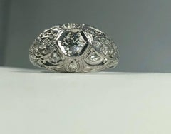 Art Deco Platinum and 18 Karat Gold  European Cut Diamond Dome Engagement ring