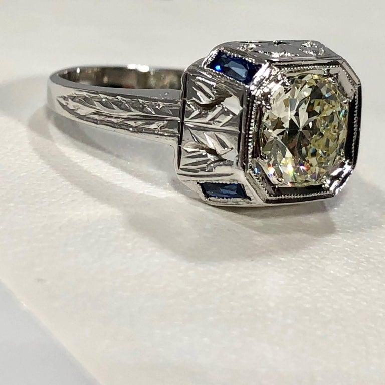 Art Deco 18 Karat 1.40 Carat European Cut Diamond and Sapphire Engagement Ring For Sale 6