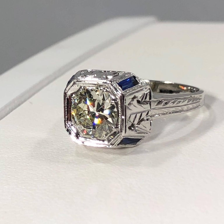 Art Deco 18 Karat 1.40 Carat European Cut Diamond and Sapphire Engagement Ring For Sale 1