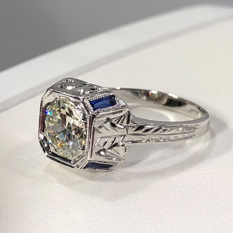 Art Deco 18 Karat 1.40 Carat European Cut Diamond and Sapphire Engagement Ring For Sale 3