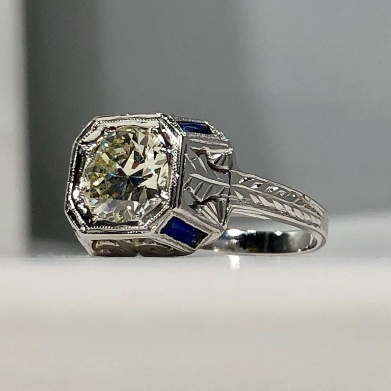 Art Deco 18 Karat 1.40 Carat European Cut Diamond and Sapphire Engagement Ring For Sale 2