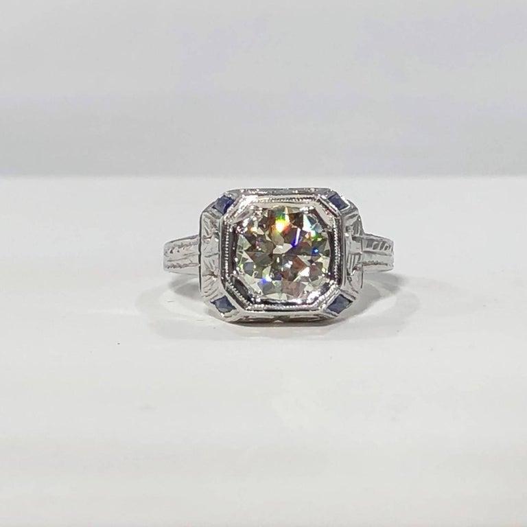 Art Deco 18 Karat 1.40 Carat European Cut Diamond and Sapphire Engagement Ring For Sale 12