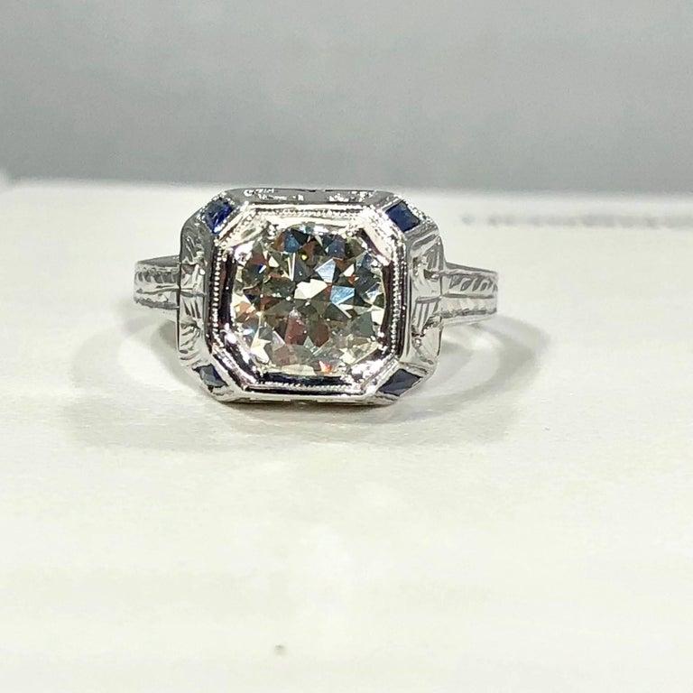 Art Deco 18 Karat 1.40 Carat European Cut Diamond and Sapphire Engagement Ring For Sale 13