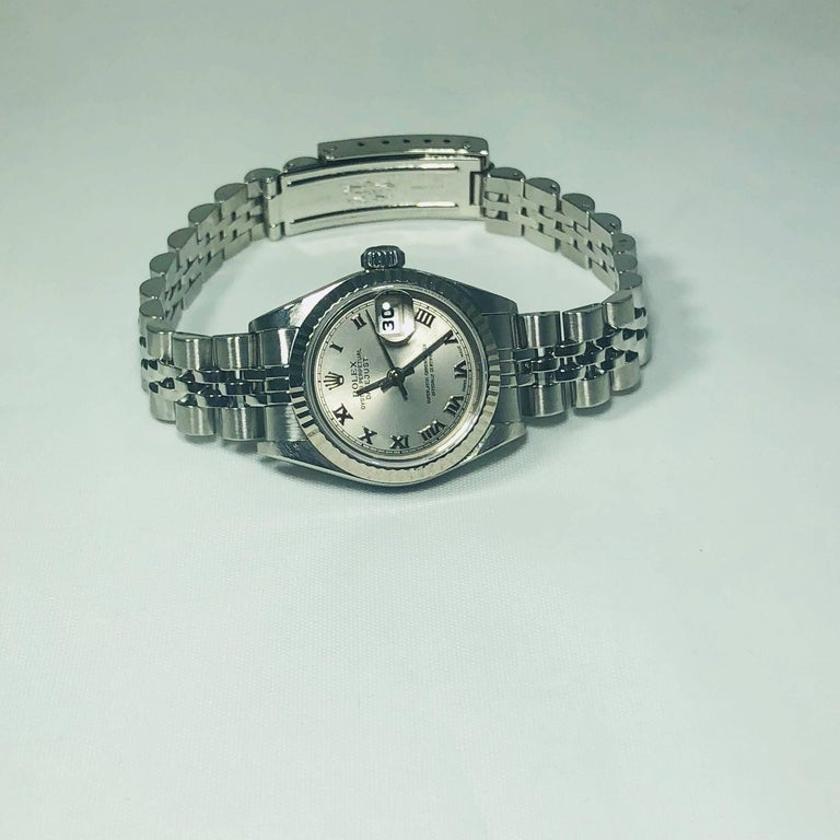 Women's Rolex Ladies white gold Stainless Steel Datejust Automatic wristwatch Ref 79174 For Sale