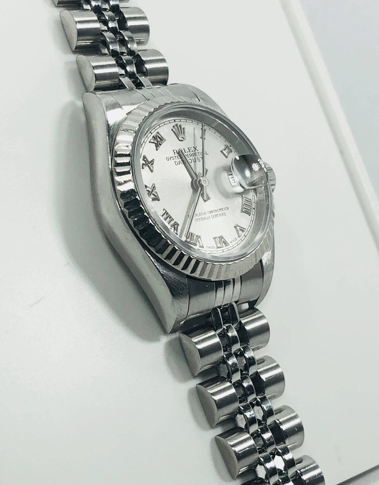 Rolex Ladies white gold Stainless Steel Datejust Automatic wristwatch Ref 79174 In Excellent Condition For Sale In Mansfield, OH