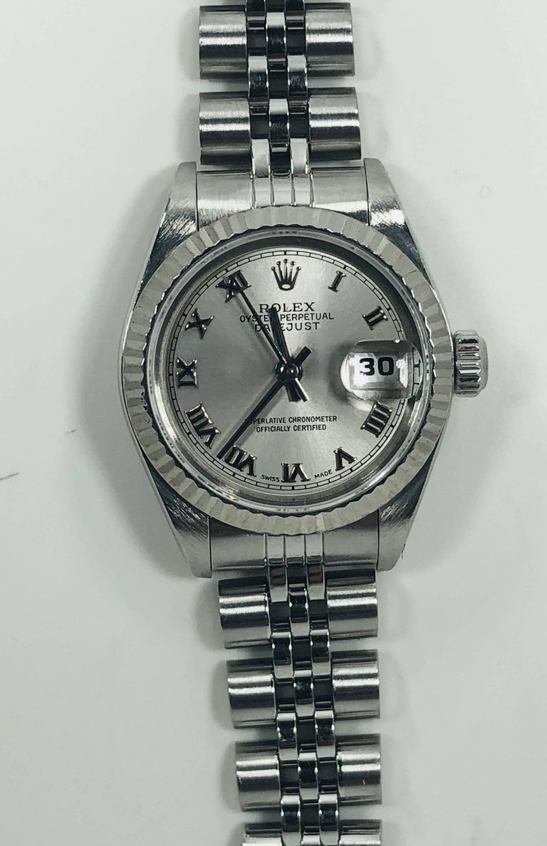 Modern Rolex Ladies white gold Stainless Steel Datejust Automatic wristwatch Ref 79174 For Sale