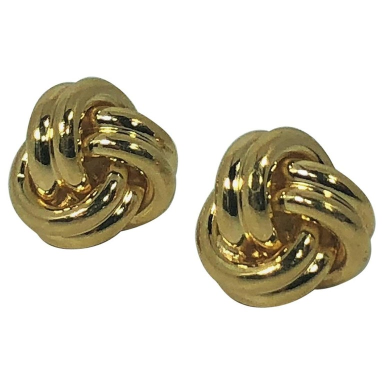 Tiffany & Co. 18 Karat Yellow Gold Love Knot Stud Earrings