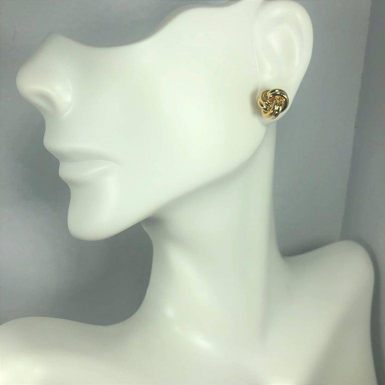 Modern Tiffany & Co. 18 Karat Yellow Gold Love Knot Stud Earrings For Sale
