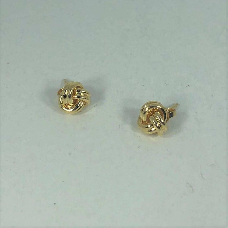 Tiffany & Co. 18 Karat Yellow Gold Love Knot Stud Earrings For Sale 1