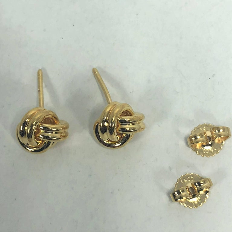 Tiffany & Co. 18 Karat Yellow Gold Love Knot Stud Earrings For Sale 2