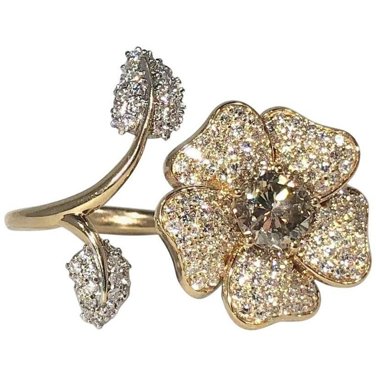 Brent Kehrle Custom 14 kt 2 tone 1.20 carat fancy Round Diamond Cocktail Ring