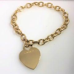 Tiffany&Co 18 Karat Yellow Gold Heart Tag Charm Bracelet