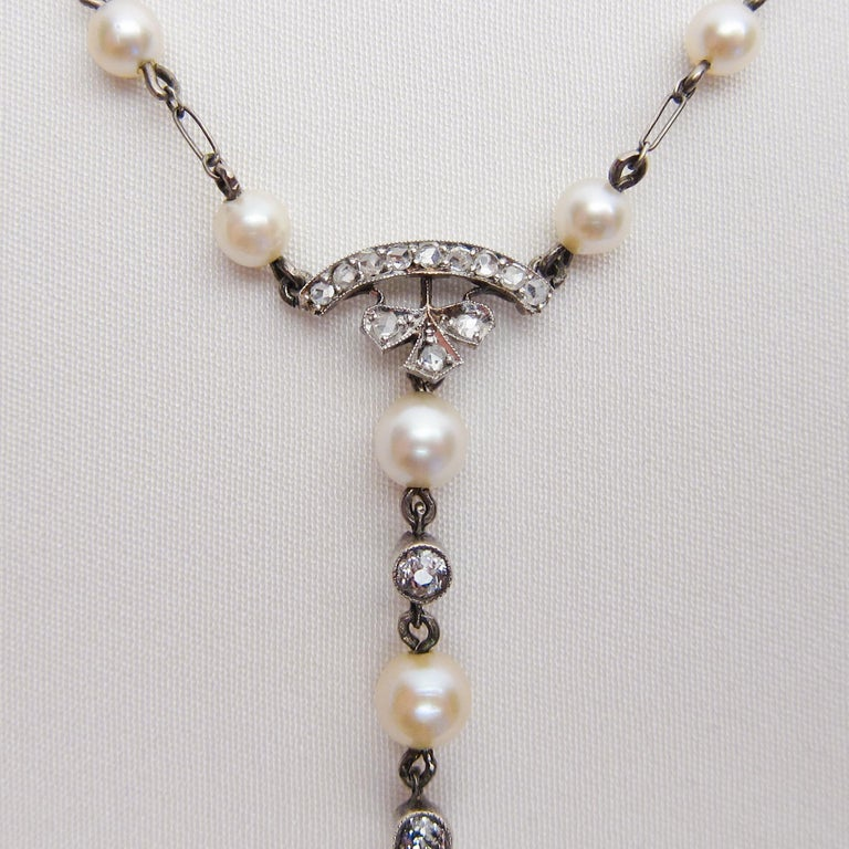 Edwardian 1.85 Carat Old European Diamond and Cultured Pearl Cluster Pendant In Excellent Condition For Sale In Seattle, WA