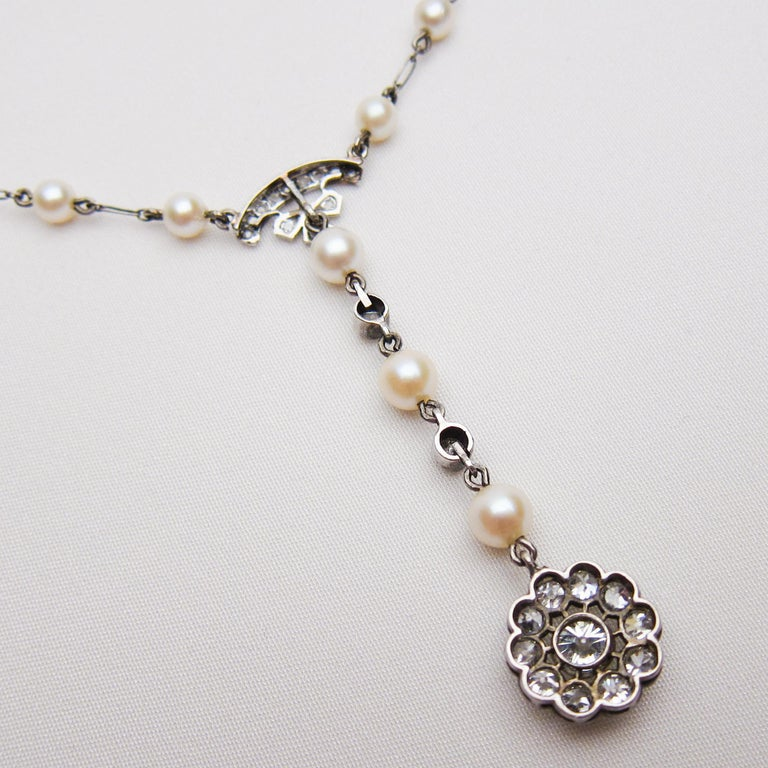 Women's Edwardian 1.85 Carat Old European Diamond and Cultured Pearl Cluster Pendant For Sale
