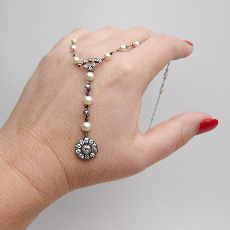 Edwardian 1.85 Carat Old European Diamond and Cultured Pearl Cluster Pendant For Sale 2