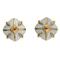 Enamel Gold Pyramid Earrings
