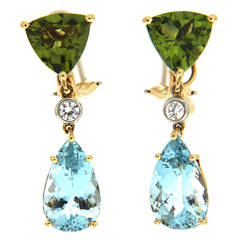 Peridot Aquamarine Diamonds Gold Drop Earrings