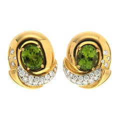 Peridot Diamond Gold Fold Over Earrings
