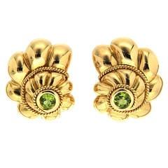 Scalloped Shell Peridot Gold Earrings