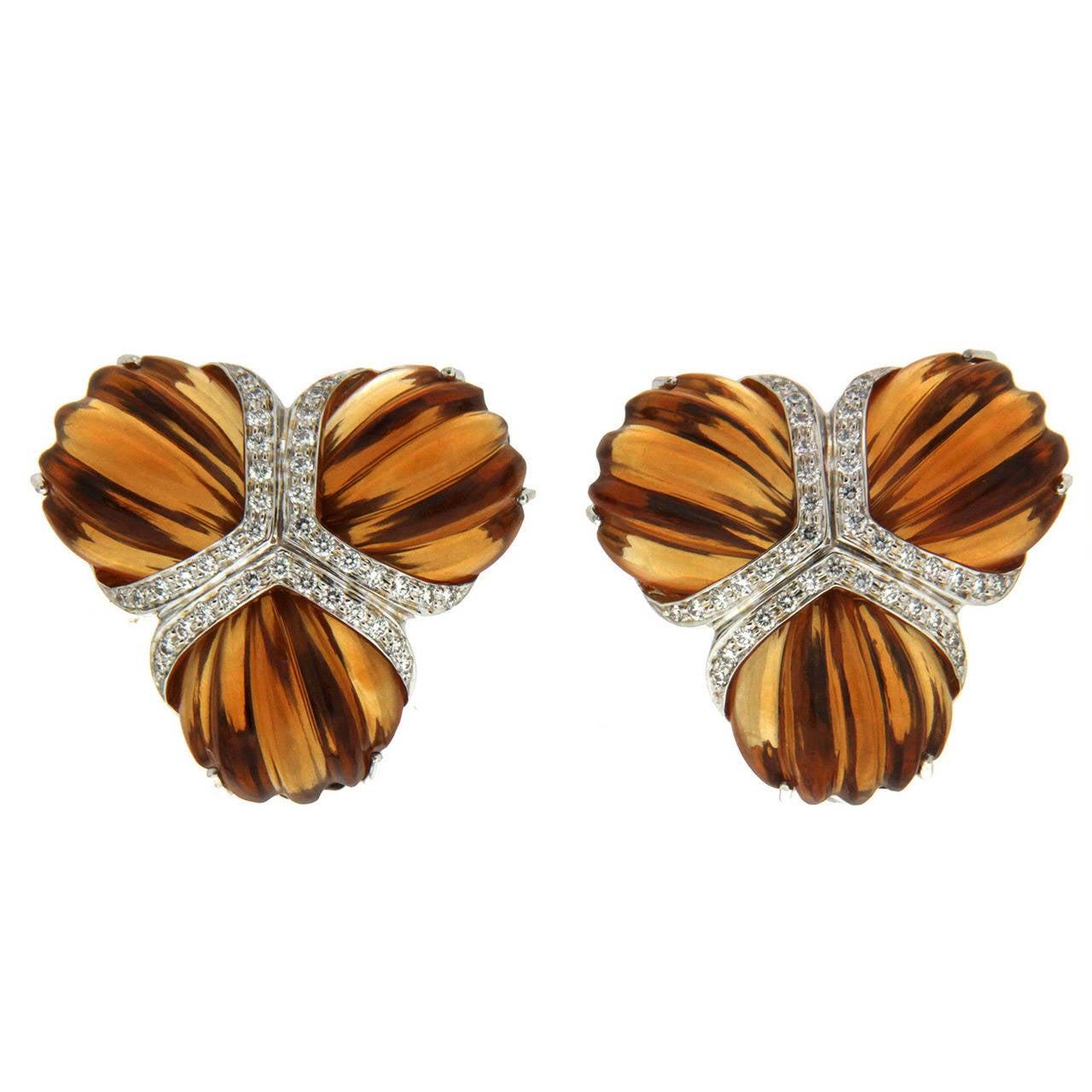 Citrine Diamond Gold Triple Fan Earrings